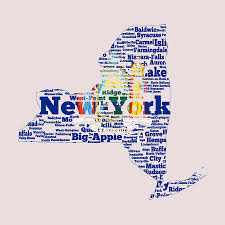 World Cloud Map by New York State Flag Word Cloud Digital Art By Brian Reaves