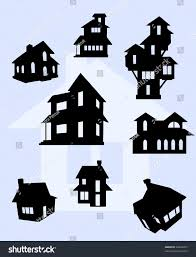 House Silhouette by Illustration House Silhouettes Black Stock Vector 69423037