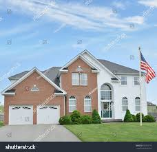 Front Porch Flag Pole American Flag Pole Suburban Mcmansion Two Stock Photo 162381719