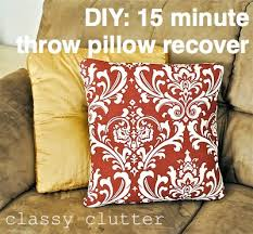How To Make Sofa Pillow Covers Recover A Throw Pillow In 15 Minutes Or Less Classy Clutter