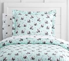 Duvet Cover Teal Organic Panda Duvet Cover Pottery Barn Kids