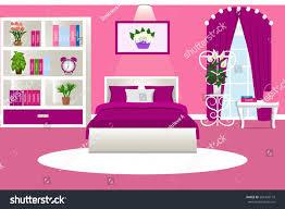 interior bedroom cozy room girls pink stock vector 581456179
