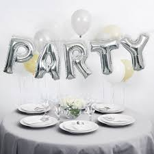 silver party favors foil party balloon word banner kit silver party decorations