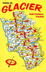 Map Of Glacier National Park Glacier National Park Montana Map View Vintage Postcard J25206