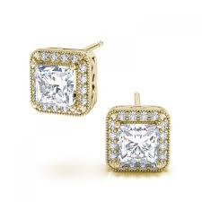 yellow gold earrings princess cut diamond fashion stud earrings in 14k yellow gold