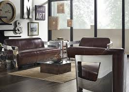 Vintage Brown Leather Chair Brown Leather Top Grain Vintage Sofa Chrome Arms