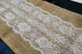 burlap and lace ribbon burlap and lace table runner white 12 wide btrunwlace 12inch