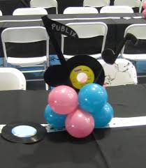 party people event decorating company s theme fundraiser st  with low centerpieces with  record and music notes carry out the s theme from partypeopleccblogspotcom