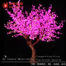 pink color artificial fake cherry blossom tree with led light for