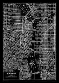 Portland Bike Maps by 1938 Portland Oregon Street Map Vintage Black 20x30 Print Poster