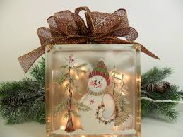 lighted glass block snowman 8 x 8 x 3 hand painted 50 00 via
