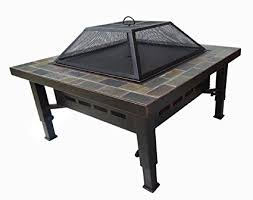 global outdoors fire table amazon com global outdoors 34 in adjustable leg square slate top