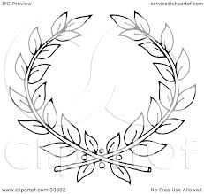 clipart illustration of a black and white outline of two branches