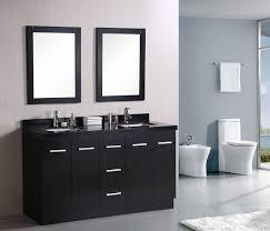 brown high gloss finish wooden bath vanity with black combo sink
