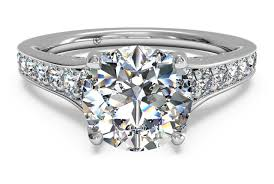 platinum pave rings images Round cut tapered pav diamond band engagement ring in platinum png