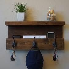 Shelf Hooks Entryway Classic American Rustic 5 Hanger Hook Coat Rack With Shelf