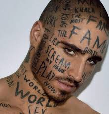 full face tattoo with words