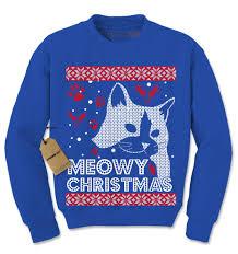meowy christmas ugly christmas holiday cat lover crewneck