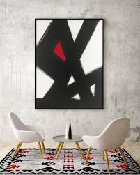 abstract black u0026 white slash no 2 red modern living room art