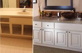 Refacing Cabinets Before And After Lovable Refacing Bathroom Cabinets And Bath Cabinet Refinishing