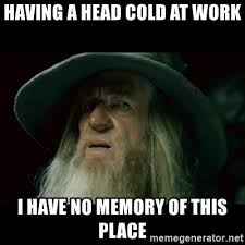 Head Cold Meme - having a head cold at work i have no memory of this place no