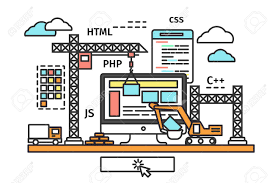 html layout under thin line flat design of web page building process website under