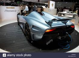 green koenigsegg regera koenigsegg regera at the geneva motor show 2015 stock photo
