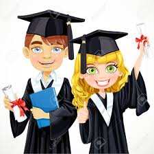 cap and gown girl and boy in cap and gown graduate holding a