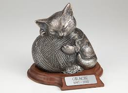 cat urn precious silver cremation urn cat with yarn engraved