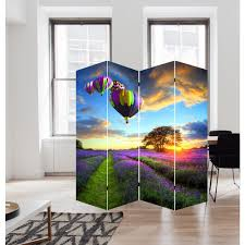 Canvas Room Divider 71 In Air Balloons Art Canvas Room Divider Fw1503c The Home Depot