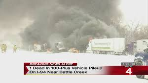 1 killed 16 injured in 193 car pileup on i 94 west of battle