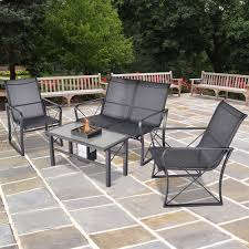 onyx sling 4 piece patio conversation set with fire pit table seats