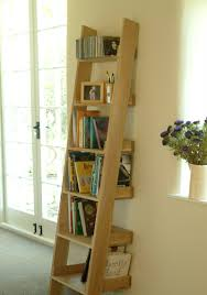 rustic ladder shelving in modern home living room design with grey