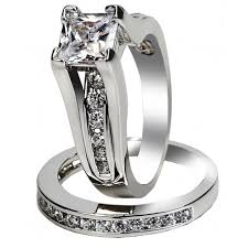 engagement and wedding ring sets women s aaa cubic zirconia princess cut 316l stainless steel