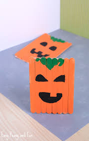 Kids Halloween Crafts Easy - popsicle stick pumpkin craft halloween craft easy peasy craft