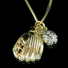 swarovski gold plated necklace images Baseball softball glove team sport swarovski crystal gold plated jpg