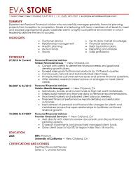 Best Resume Format For New College Graduate by Best Personal Financial Advisor Resume Example Livecareer