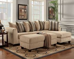 Sofa Bergen Beige Fabric Modern Elegant Sectional Sofa W Optional Ottoman