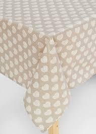 table cloth heart print pvc table cloth 229cm x 137cm beige matalan
