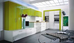 kitchen modern house with glass walls and lime green cabinet set