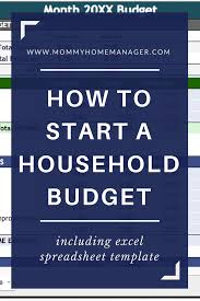 Household Budget Spreadsheet How To Start A Household Budget U2013 Mommy Home Manager