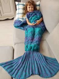 kid blankets blue warmth knitted fish scales mermaid blanket for