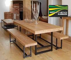 mesa comedor de hierro y madera sin bancos 3 400 00 casa