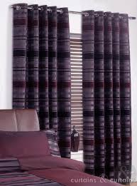 Grey And Purple Living Room Curtains by Chenille Striped Aubergine Purple Ring Top Curtain Curtains And