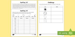 year 1 spelling practice u0027ck u0027 homework activity sheet ks1