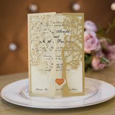 tri fold wedding invitations fancy gold glitter tree laser cut trifold wedding invitations