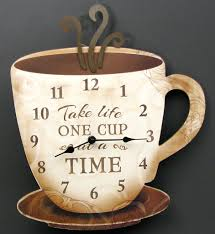 wooden retro coffee wall clock take one cup at a time
