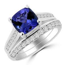 blue diamond wedding rings 2 40ct tanzanite diamond matching engagement ring set