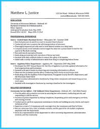 Resume Expected Graduation by Best Criminal Justice Resume Collection From Professionals