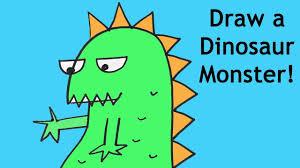 pk draw dinosaur cartoon monster drawing tutorial